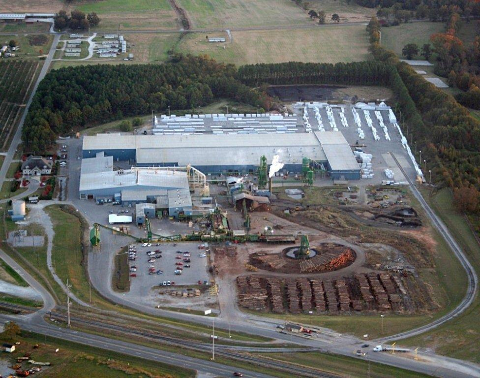 Aerial shot of Thorsby, Alabama Engineered Wood Operation.
