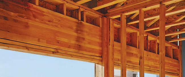 Glulam beams being used for cantilevers and headers