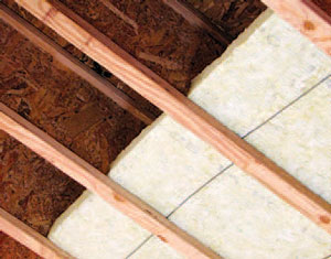 Installing mineral wool between I-joists is one of several methods builders can use to meet the requirements of R501.3.