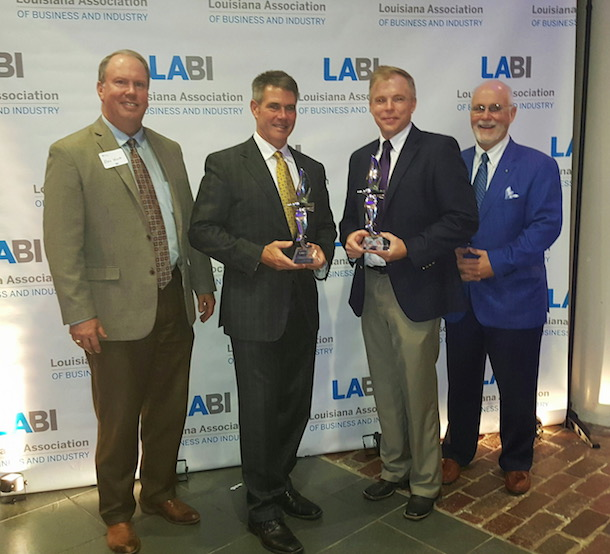 (left to right): Natchitoches Community Alliance Foundation, Inc. Vice President of Economic Development Mike Wolff; RoyOMartin President & CFO Roy O. Martin III; Alliance Compressors, LLC Plant Manager Ken Gardner; and RoyOMartin Chairman & CEO Jonathan E. Martin.
