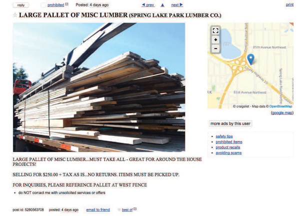 Ads for damaged, returned or overstocked lumber appear on Craigslist, such as this ad from Spring Lake Park Lumber in Minnesota.